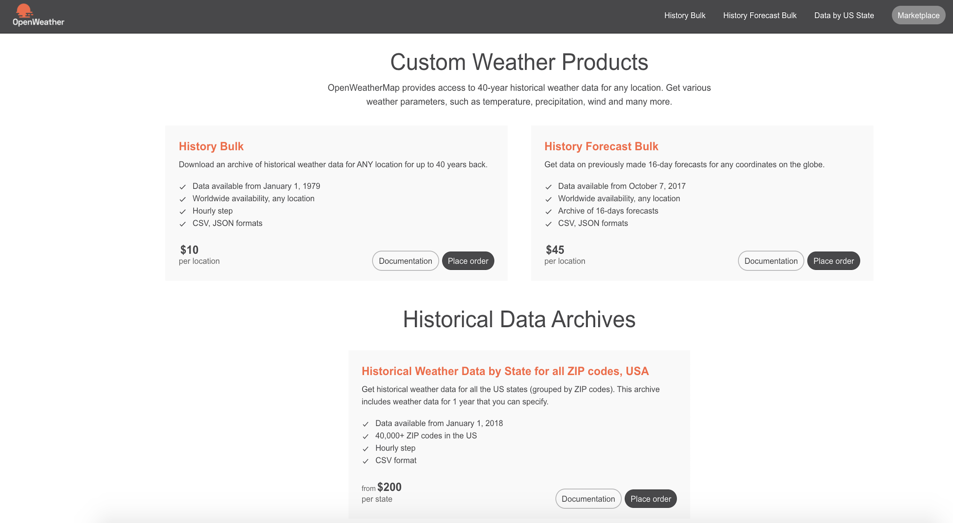 Marketplace: online shop of historical weather data