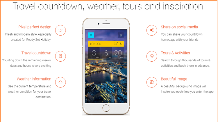 Travel countdown, weather, tours and inspiration