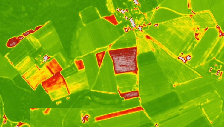 Visualisation of the NDVI index on satellite maps. Custom palettes for agricultural applications.
